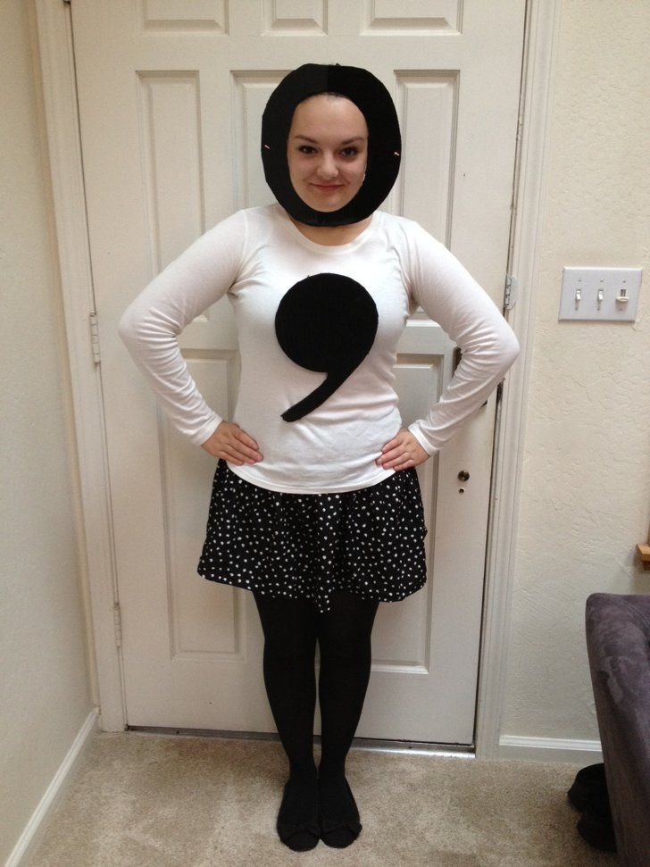 Pin for Later: 21 Literary Costumes For Hardcore Book-Lovers Semicolon If you love literature, you're probably (read: definitely) a stickler for grammar. Express the importance of punctuation with a semicolon costume.