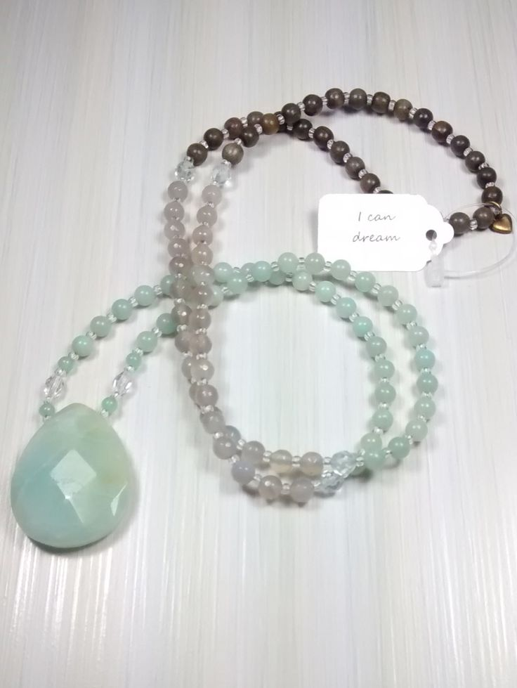 Dream On. 108 bead Mala with faceted Amazonite pendant. Made with Jade, Amazonite, Crystal,  & Grey Wood. Live your dream! by pinksunmalas on Etsy