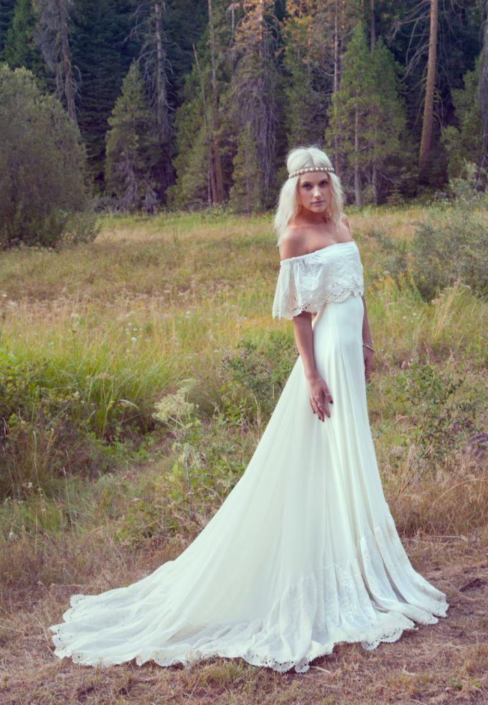 cream bohemian reception gown with crochet trimmed neckline