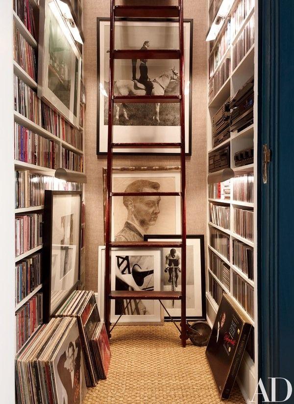 A Phillip Jeffries grass cloth lines the music closet | archdigest.com