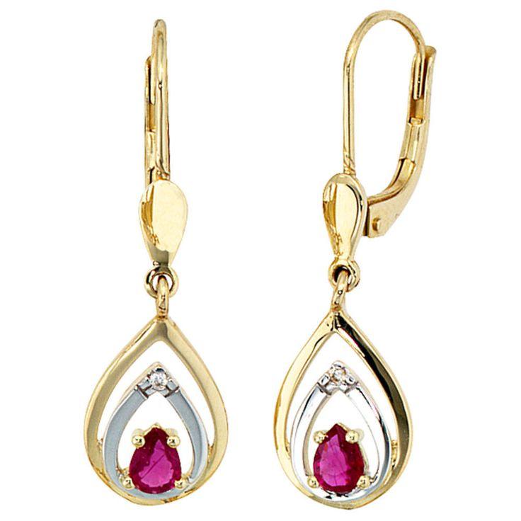 Boutons 585 Gold Gelbgold 2 Diamanten 2 Rubine rot Ohrringe Ohrhänger A32728 http://www.ebay.de/itm/Boutons-585-Gold-Gelbgold-2-Diamanten-2-Rubine-rot-Ohrringe-Ohrhaenger-A32728-/161815559870?ssPageName=STRK:MESE:IT