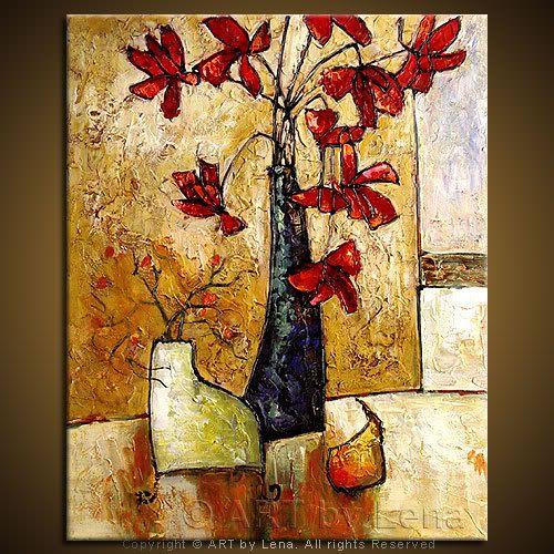 """Still Life with Pear"" - Original Flower Paintings by Lena Karpinsky, http://www.artbylena.com/original-painting/728/still-life-with-pear.html"