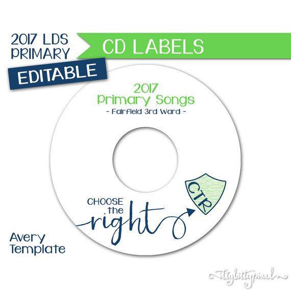 CD Label  LDS Primary 2017 Theme Editable by IttyBittyPixel