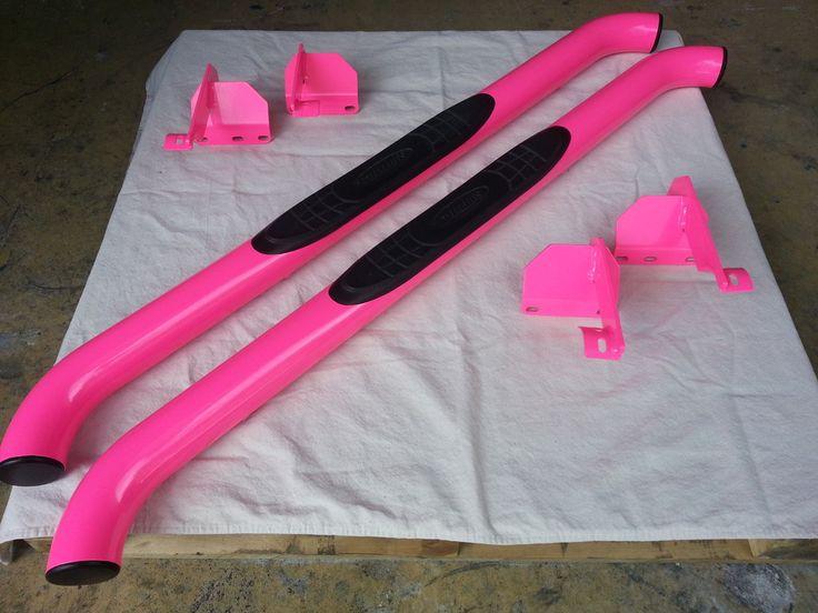 Smittybilt Nerf Bars in Neon Pink