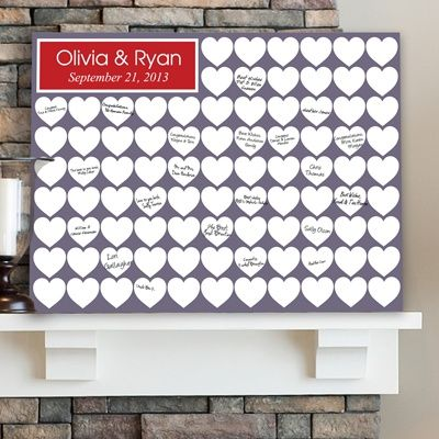 "Personalized canvas guest signature board. Love the heart theme!   ""Heartful Memories Canvas Print"""