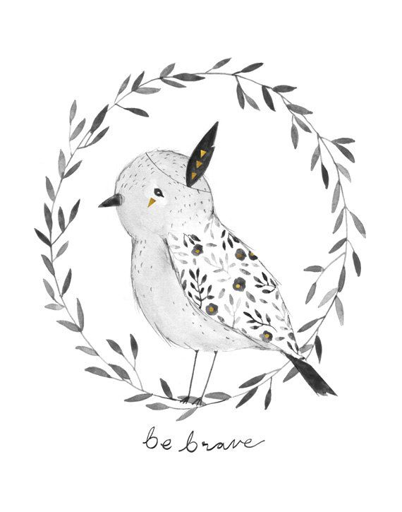 Be Brave Bird art print  11X14 by KelliMurrayArt on Etsy