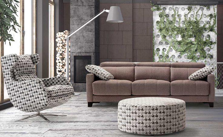 Sofá moderno de 3+2 plazas y con chaise-longue, modelo Gino fabricado en España por Divani Star en Sofassinfin.es