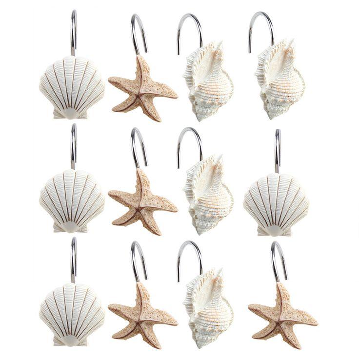 12 PCS Seashell Shower Curtain Hooks Anti-Rust Starfish Room Curtian Hook Decor…