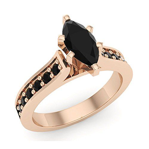 A beautiful  1.25 ct tw Black Marquise Diamond Engagement Ring 14K Rose Gold