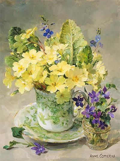 Anne Cotterill loved painting primroses and was so excited every year when they showed  in the harsh winter soil.  This card is newly published for 2017 - 'Primroses with Posy of Violets' beautifully arranged in a green and white china teacup and saucer and a tiny crystal pot.