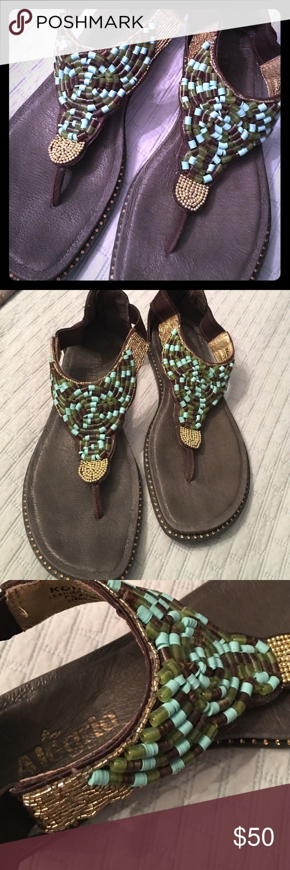 Boho Alegria Sandals size 10 gold beading Beautiful Alegria sandals that are amazingly comfortable- these are the insoles nurses wear.  Brown is the primary color - leather upper & lining. I have only worn 2-3 times on vacation - purchased in a boutique in Granbury, TX. Bottoms look new, around the outermost edges are small Amber beads or stones, backs have zipper that is leather attached to elastic stretch fabric. Top of shoe has round & long gold beads, green, aqua and brown discs strung…