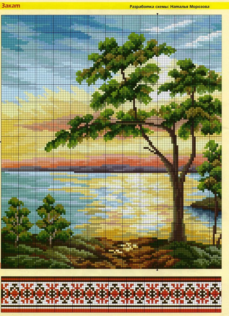 The scheme for embroidery cross: Sunset