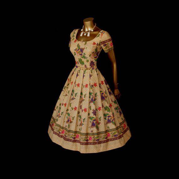 Betty's Vintage 50's Butterfly Batik Full Skirt Cotton Hawaiian Dress