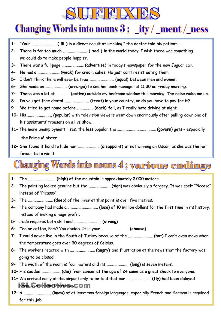 WORD FORMATION - NOUNS 2