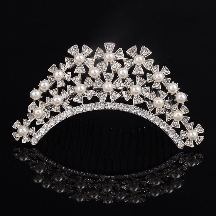 High quality pearl jewelry bridal beautiful crown shape hair comb bow birthday return gift