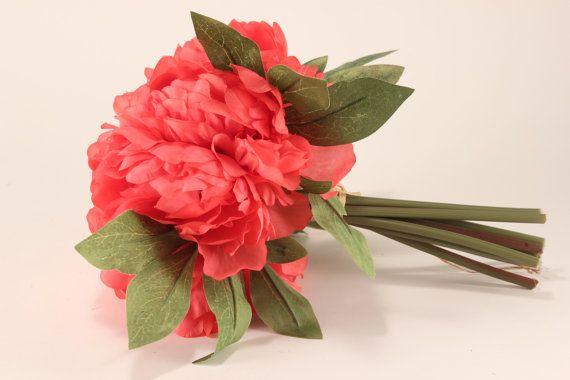 Coral Peony Bouquet  Silk Flowers  Wedding by celebrationsupply, $18.00