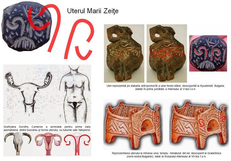Asemănarea dintre bucraniu şi forma uterului, cu tuburile sale fallopiene, a fost semnalată de graficiana Dorothy Cameron la Catal Huyuk. Un uter stilizat, pus în evidenţă prin încadrarea într-un chenar, este reprezentat pe statueta antropomorfă a unei femei stând, descoperită la Kyustendil, Bulgaria, şi datată în prima jumătate a mileniului al V-lea î.e.n.