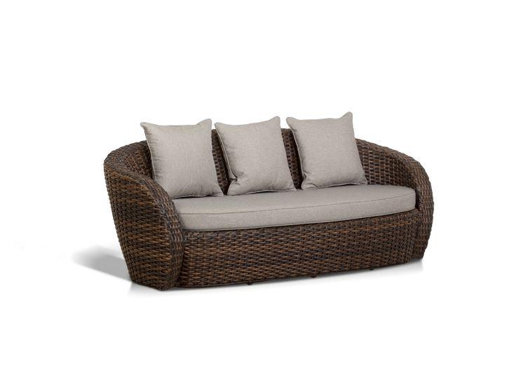 """""""Авела"""",   A008E, диван трехместный в комплекте с подушками, алюминиевый каркас, искуственный ротанг, размеры 2040х880х745, цвет темно-коричневый             Метки: Диваны садово парковые, Садовые диваны из ротанга.              Объем: 1,337.              Материал: Ткань, Пластик.              Бренд: 4SiS.              Стили: Прованс и кантри.              Цвета: Серый, Темно-коричневый."""