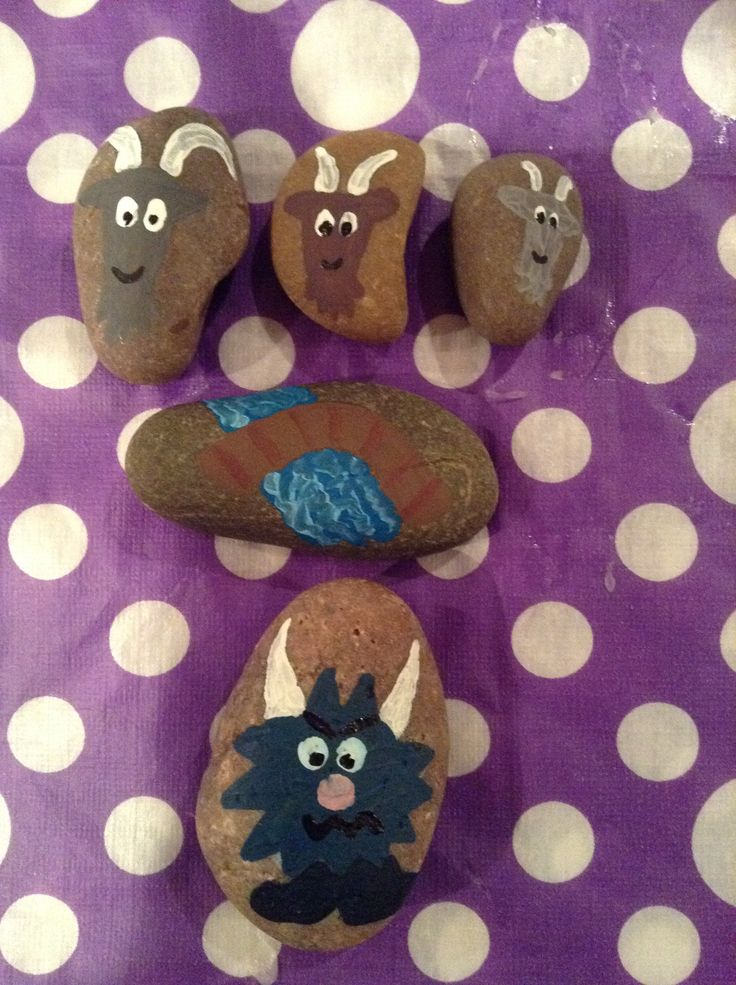 The three billy goats gruff story stones