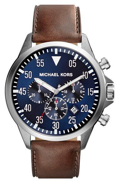 Free shipping and returns on MICHAEL Michael Kors Michael Kors 'Gage' Chronograph Leather Strap Watch, 45mm at Nordstrom.com. Chronograph eyes punctuate a utilitarian watch with a dashboard-inspired dial and topstitched leather strap.
