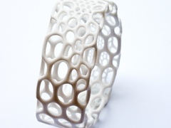 "Subdivision Bracelet by nervoussystem    ""Inspired by the complex forms of radiolarians, where intricate pattern is integral to structure, these shapes derive from a simulation of spring meshes which form mirrored catenoid surfaces. We created interactive software to morph, twist, and subdivide each design, transforming a simple mesh to a complex patterned structure."""