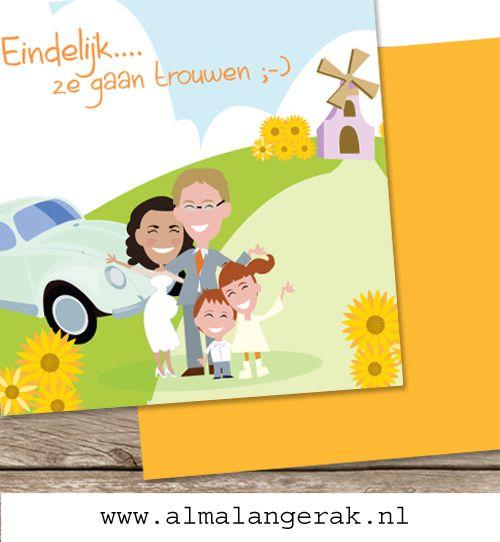 #custom #illustrated #wedding #invite #cartoon #maatwerk #trouwkaarten #volkswagen #kever #yellow #geel #zonnebloemen #sunflower