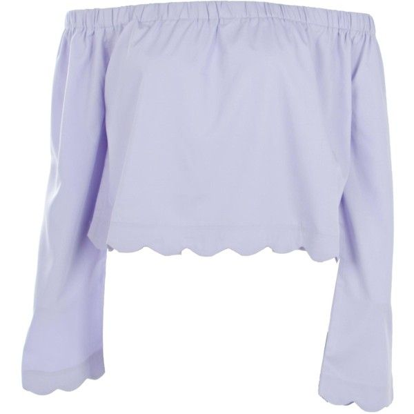 Boohoo Stacey Scallop Edge Bardot Top | Boohoo ($14) ❤ liked on Polyvore featuring tops, off the shoulder crop top, pastel crop top, off shoulder crop top, polka dot crop top and bralette crop top