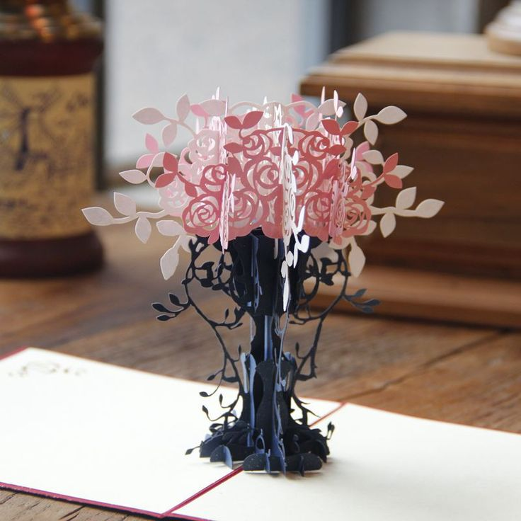 Flowerpot Kirigami DIY 3D pop up laser cut artesanato origami paper crafts arts birthday greeting card postcards for lover craft
