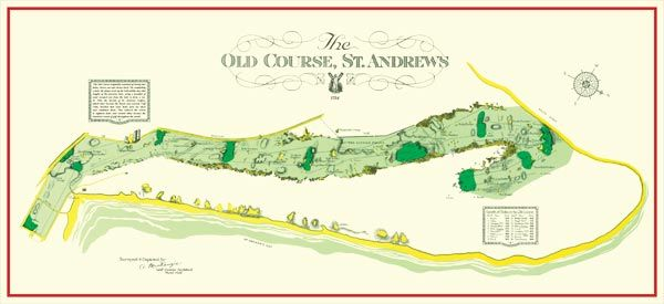 The Old Course at St Andrews vintage map original design by