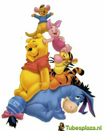 "Winnie the Pooh and Friends Totem Pole.   Bottom: Eeyore, Pooh, Tigger, Piglet, and Roo on Top.  ""Winnie the Pooh and Friends"""