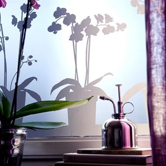 Orchids in pots. Adhesive-free and phthalate-free window film by Johanna Lindgren Oern.  © Siluett Frost
