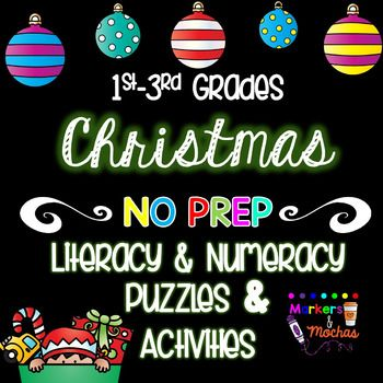 Christmas Puzzles & Activities Pack 1st~3rd Grade AUSTRALIA USA UK spelling included. Over 50 pages of Christmas themed math and literacy puzzles and activities.