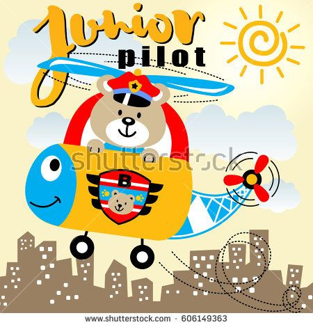 bear the helicopter junior pilot, kids t shirt design, vector cartoon illustration