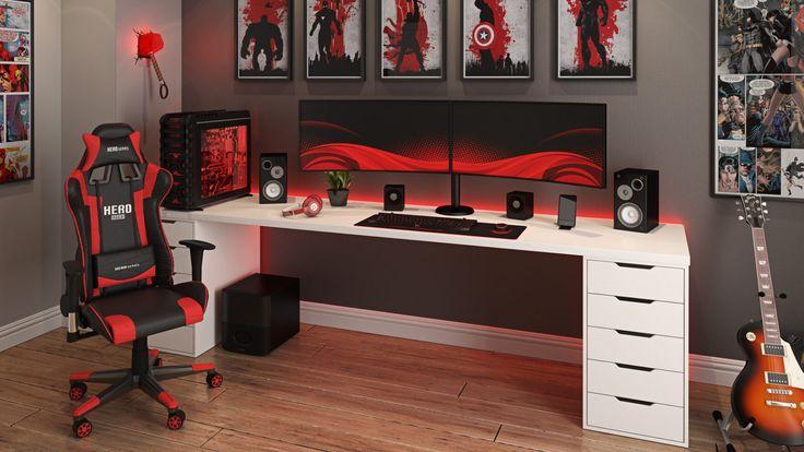 Gamer Bedroom, Bedroom Games, Bedroom Setup, Boys Bedroom Decor, Boys Game Room, Girl Room, Small Game Rooms, Cool Bedrooms For Boys, Study Room Decor
