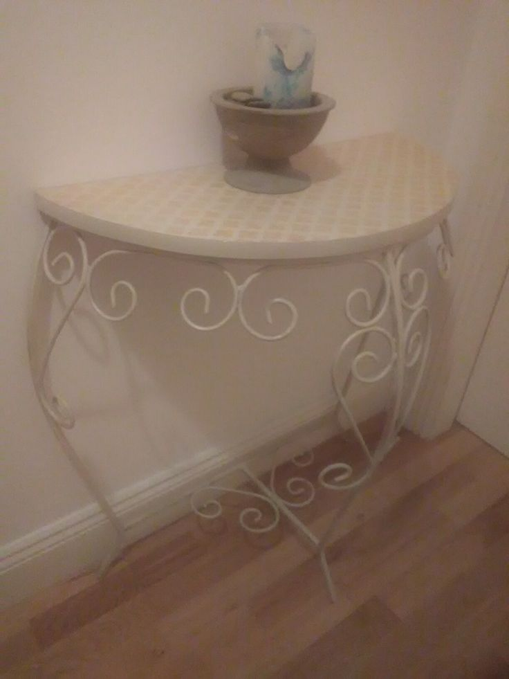 Upcycled occasional table in antique white and gold stenciling.