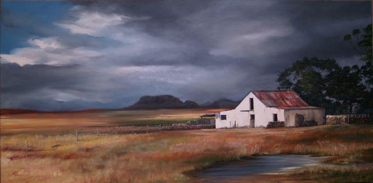 Margie Schultz Free state hail storm. Oil on canvas 1800 x 900