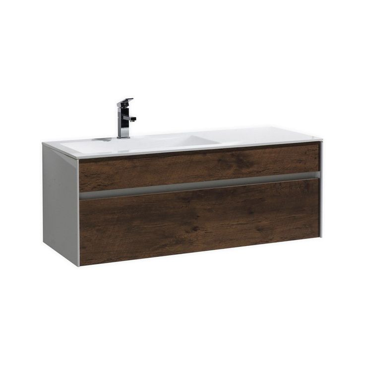 "Fitto 48"" Single Sink Wall Mount Modern Bathroom Vanity - Rose Wood"