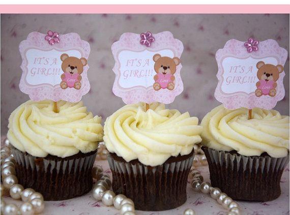 Teddy bear cupcake toppers #teddybearbabyshower #teddybearcupcaketopper