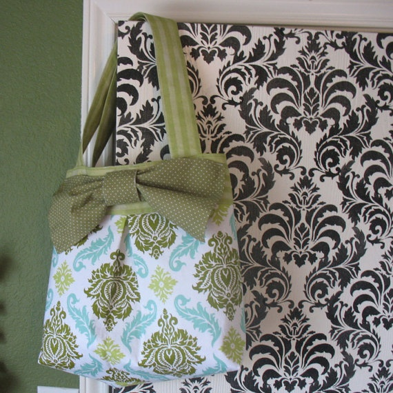 Damask Pleated Tote