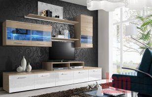Obývací stěna dub sonoma/bílý lesk LOGO II