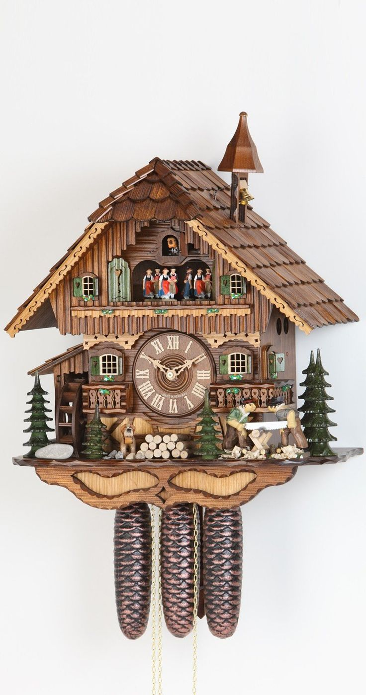 best cuckoo clock images cuckoo clocks black  cuckoo clock black forest house moving wood chopper and mill wheel by hekas cycle