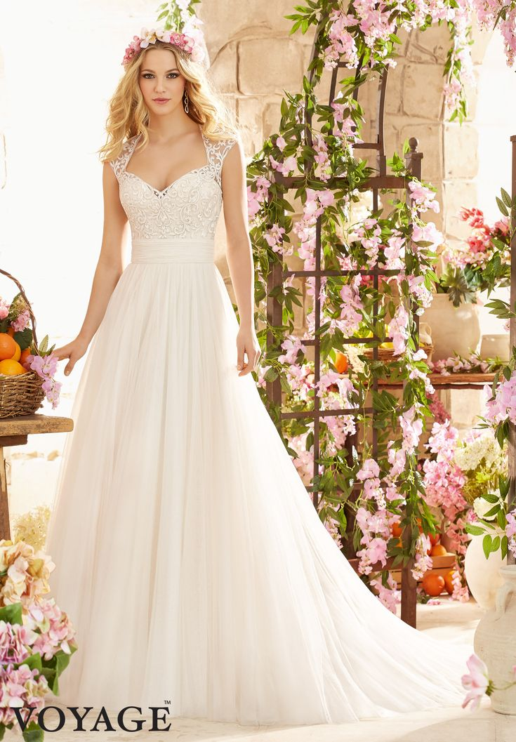Wedding Dresses By Voyage featuring Majestic Embroidery on Soft Net Colors Available: White, Ivory, Champagne