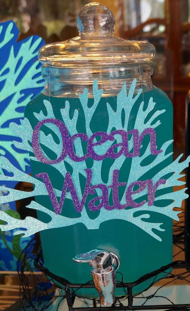 Ocean water drinks at a pirates and mermaids birthday party! See more party ideas at CatchMyParty.com!