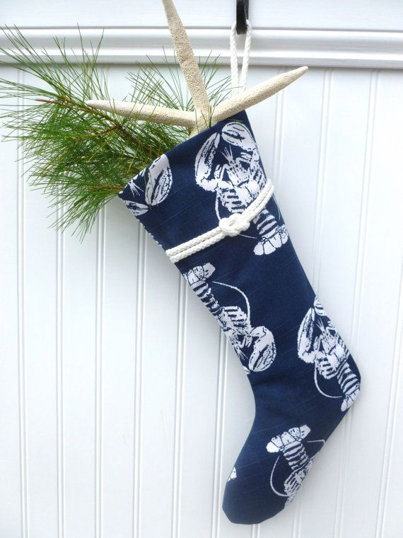 Nautical Lobster Christmas Stocking! Handmade in New England.
