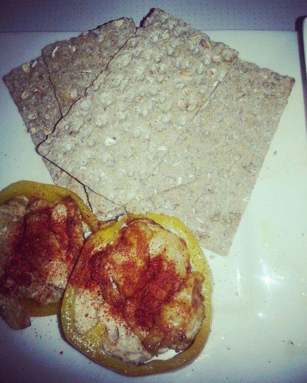 Paprika egg on crackers