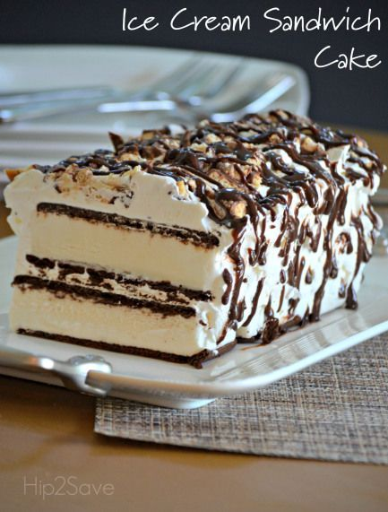 Ice Cream Sandwich Cake Recipe. This wonderful and delicious ice cream treat will delight your taste buds! This is also perfect for ice cream parties.  See how it's all done a Hip2Save.com