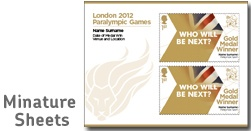 ParalympicsGB Gold Medal Winner Miniature Sheets.  We're very excited to reveal Ellie Simmonds' Gold Medal Stamp!    This one will be available in Post Offices and online from Monday 3 September: http://shop.royalmail.com/the-london-2012-olympic-and-paralympic-games/team-gb-gold-medal-winners-collection/icat/goldmedalstamps/