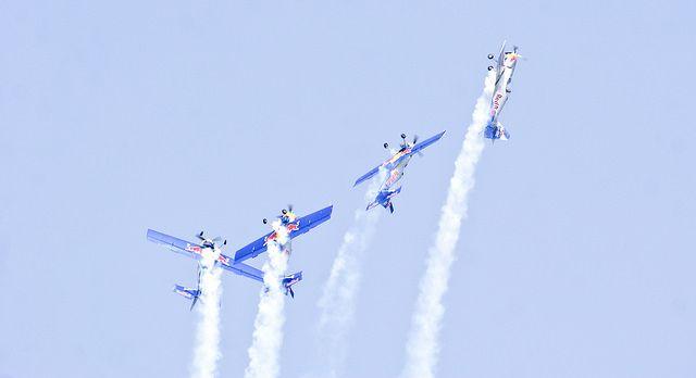 Red Bull, the aerobatic display team performing at Aero India Show 2013.