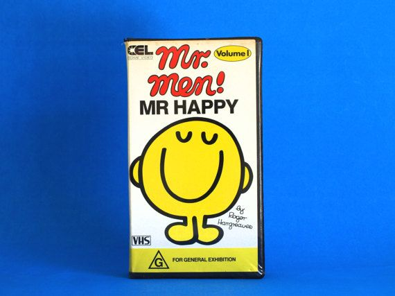 Mr Men Mr Happy VHS Video Cassette Tape  Vintage by FunkyKoala