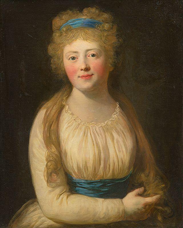 Viedenský maliar z konca 18. storočia - Podobizeň ženy v bledom šate s modrou stužkou vo vlasoch